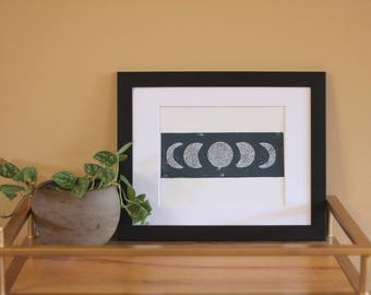 Hand Printed Phases of the Moon Block Print