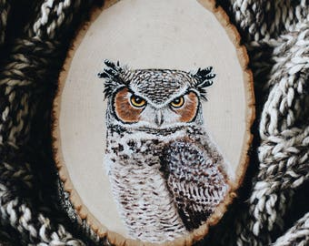 Woodcut Great Horned Owl Portrait