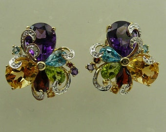 Multi-Color 10.13ct Gemstone Earrings,14K Yellow Gold & Diamonds 0.10Ct
