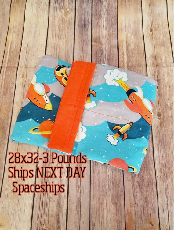 Space Ship, Outer Space, 3 Pound, WEIGHTED BLANKET, Ready To Ship, 3 pounds, 28x32, for Autism, Sensory, ADHD, Calming, Anxiety,
