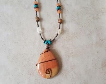 Beaded Jasper Necklace - Jasper Pendant - Jasper Necklace - Metaphysical Necklace - Boho Beaded Necklace - Gemstone Necklace - Zen Necklace