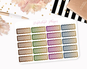 Ombre Glitter Scallop Quarter Boxes Functional Planner Stickers // Quarter Box Designs // Perfect for Erin Condren Vertical Life Planner