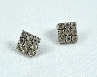 Rhinestone pierced earrings, rhinestone studs