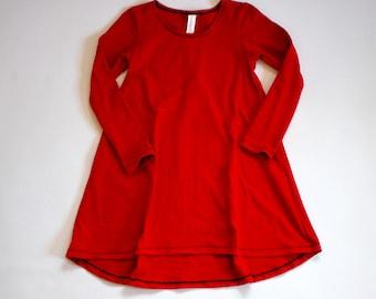 RED Long sleeve swing dress, high low dress, long sleeve dress, baby dress