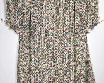 KM418 Vintage Japanese Yukata Kimono Womens Cotton Wool