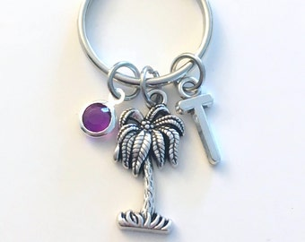 Palm Tree Keychain, Vacation Key Chain, Coconut Keyring, Friendship Charm Letter Initial Present her him women Gift for Retirement Friend