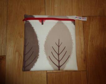 Reuseable Wrap - Bikini Bag - Lunch Bag  - Zero Waste Medium Poppins Waterproof Lined Zip Pouch - Sandwich bag - Eco - Autumn Leaf