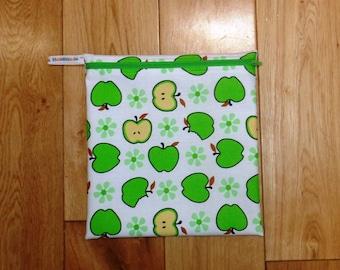 Bikini Bag - Toiletries Bag - Make Up Bag - Sandwich bag  -  Eco - Craft Bag - Large Poppins Waterproof Lined Zip Pouch - Green Apple Fabric