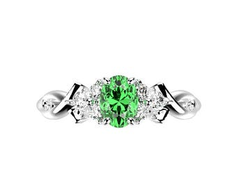 White Gold Emerald Engagement Ring White Gold Engagement Ring Emerald Ring Unique Engagement Ring Emerald in White Gold