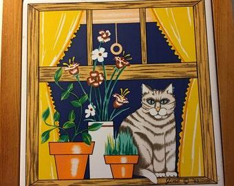 Wall Art Tile - Gino 1983 - Cat on Windowsill