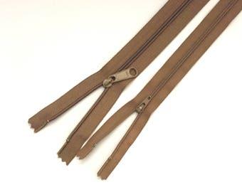 """YKK Zipper / TAUPE Zipper / Dress Zipper / 16"""" Long Pull Zipper / 9"""" zipper / Long Pull Zipper / Handbag Zipper / Closed End Zipper"""