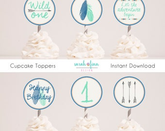 Wild One Birthday, Cupcake Toppers, Tribal Decorations, Boho Party, Printable, Arrows, First Birthday, Wild One, Blue Mint, Instant Download