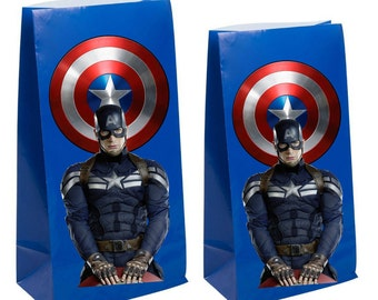 Marvels Captain americia Party Favor gift  bags ~ Captain america Party Inspired Decorations & Decor