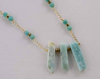 Natural stone necklace, Long necklace, turquoise necklace, necklace beads, pendant necklace, natural stones, necklace chain and beads