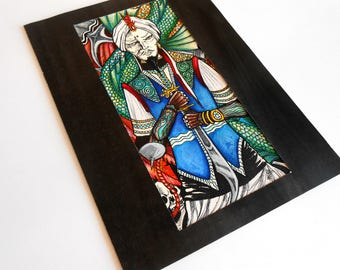 original artwork drawing watercolor drawing old school ink felt tarot card Sinbad the sailor 1001 nights @méka drepth