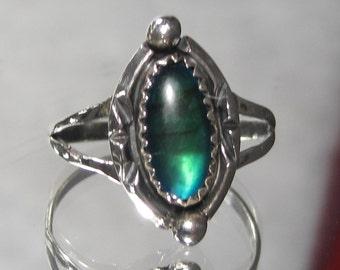 Vintage Southwestern Sterling Silver Gemstone Ring Sz 10.25 M77