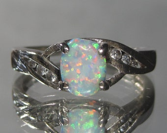 Vintage Sterling Silver Opal and Gemstone Ring Sz 8.25 M88