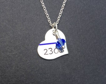 Thin blue line jewelry, police officer gifts, police wife necklace, Badge Number heart, Hand stamped, Blue Life Matters, My Hero Necklace