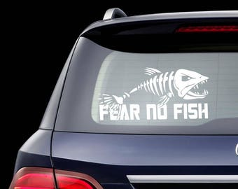 Fear No Fish Decal Fishing Car Sticker Macbook Sticker Laptop Decal Fishing Sticker Car Decal Fox Sticker