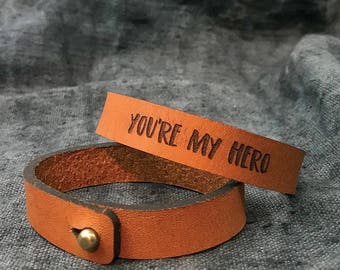 Boyfriend leather gift, Christmas gift for men, Leather bracelet for him, Gifts for men, You're my hero, Gift ideas for men, xmas gift ideas