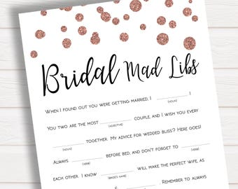 Bridal Mad Libs, Rose Gold Confetti Wedding Mad Libs, Bachelorette Hen Party Games, Bridal Shower Mad Libs, Bachelorette Mad Libs, Mad Libs