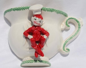 Vintage Gilner California Pottery Pixie Elf Chef Tea Cup Ceramic Wall Vase Pocket