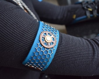 Steampunk Blue Butterfly Leather Bracelet