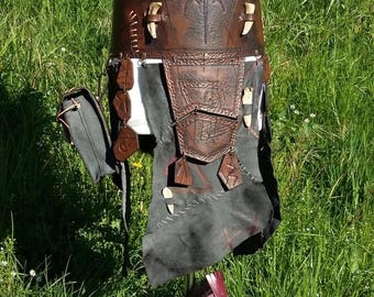 Leather belt tassets faulds skirt armor of tribal barbarian with rune leather handbag bones armor larp cosplay waistband armor