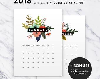 Printable Calendar 2018, Floral Calendar Printable Planner 2018 PDF, A4 UsLetter A5 Calendar Printable Wall Calendar Flower Instant Download