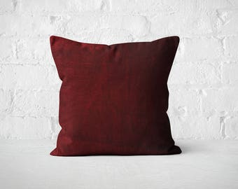 Burgundy Velvet Pillow Cover | Wedding Decor | Plush Dorm Throw Pillow | Wine Red Pillow | Maroon Luxury Pillow Sham | Decorative Pillow