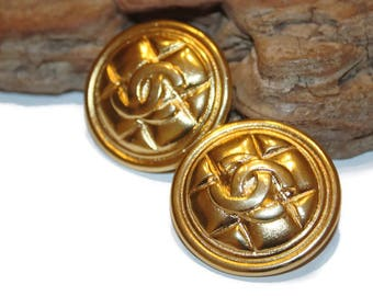 Authentic Coco Chanel Earrings, Chanel CC gold earrings, Vintage Chanel, Designer clip on earrings, Authentic Chanel statement earrings