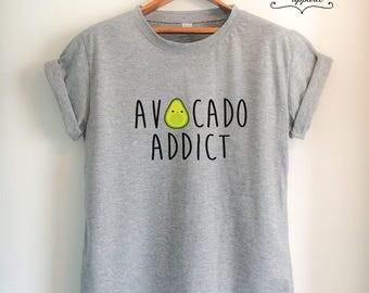 Vegan Shirt Avocado T Shirt Vegan T Shirt Avocado Shirt Avocado Addict Shirt Vegetarian T Shirt Women Girls Men Unisex Vegetarian Top Tee