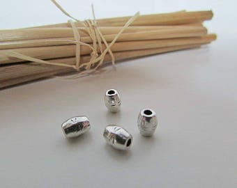 10 Pearl tube 6 x 4 mm silver plated - 2 mm hole - 629