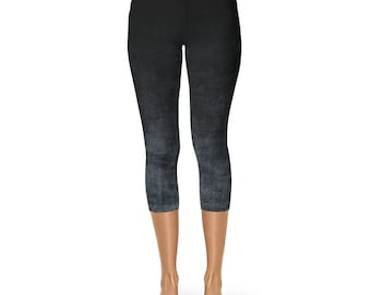 Capri Leggings - Gray and Black Ombre Leggings, Grunge Yoga Pants