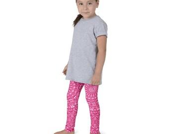 Pink Printed Yoga Leggings for Girls, Kids Yoga Pants, Children's Pink Activewear Leggings
