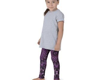 Yoga Pants for Girls, Purple and Pink Kids Leggings, Children's Yoga Leggings, Fun Leggings for Kids