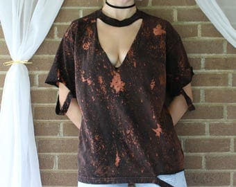 Distressed choker T-shirt