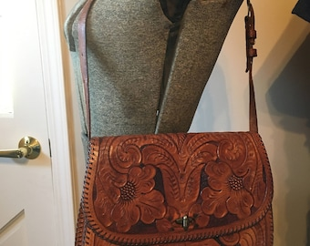 Vintage Leather Handbag with Floral and Bird Detail PRICE LOWERED