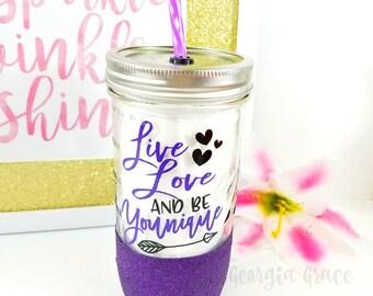 Younique Glitter Mason Jar Tumbler // Gift for Younique Presenter // Younique Cup