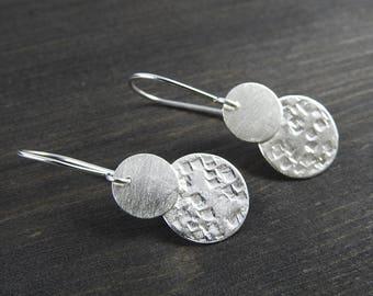 modern earrings Silver earrings  Silver dangles Gifts for her natural jewelry  hammered earrings textured drop earrings