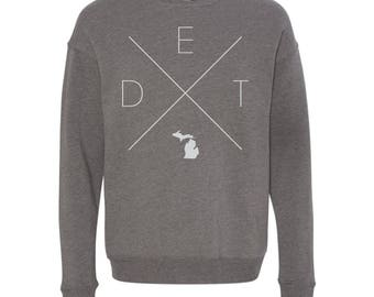 Detroit Sweatshirt - DET Home Sweater, Michigan Off Shoulder Sweatshirt