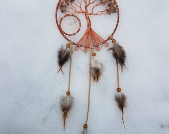 Mixed Agate Tree of Life Dream Catcher/Wall Hanging/Room Decor/Copper