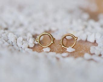 Small gold circle stud earrings, eternity earrings, circle earrings, 14k gold, sterling silver, gift for her, circle studs, post earrings