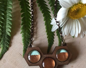 rose gold and wood statement necklace, gift for her