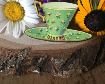 vintage green teacup pin, gift for your quirky friend