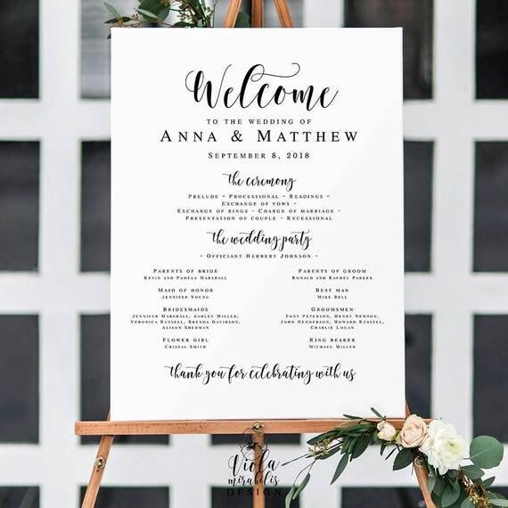 Large Wedding Program Sign Templates Welcome Template Poster Editable Board DIY Vm31