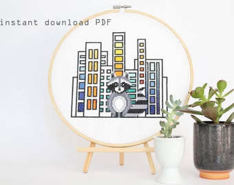 Raccoon in the City - Modern counted cross stitch pattern - instant download pdf