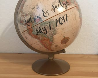 Customize Me! Wedding Guestbook Globe, Custom globe, calligraphy globe, hand lettered globe, navy and gold globe, quote globe, guestbook