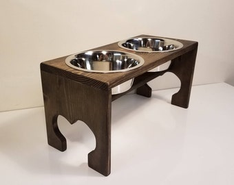 Raised Dog Feeder - Jacobean Stain - 2 QT Bowls - Dog Bowl Stand - Raised Dog Bowl Feeder - Stainless Steel Elevated Dog Food Bowl