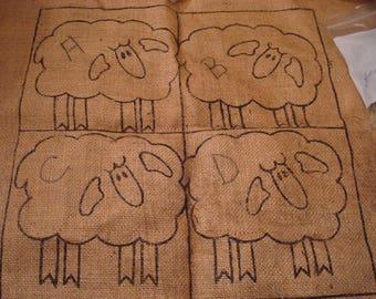 Rug hooking kit...Four Sheep Pillow